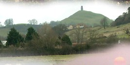 The Tor from the west, with Wearyall Hill on the right